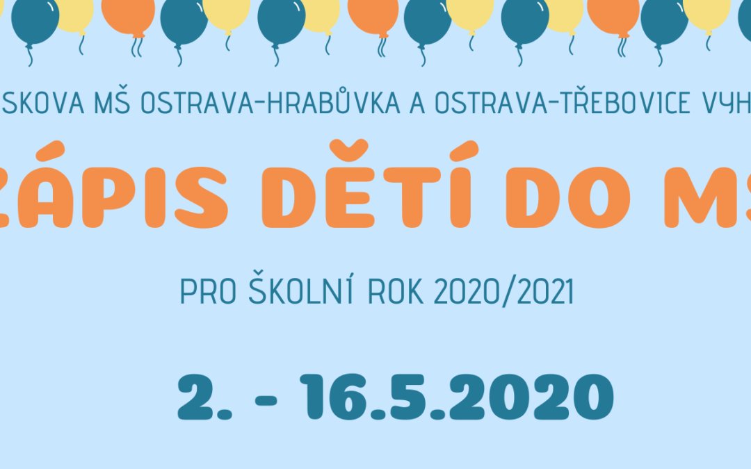 Zápis do MŠ pro šk. rok 2020/2021